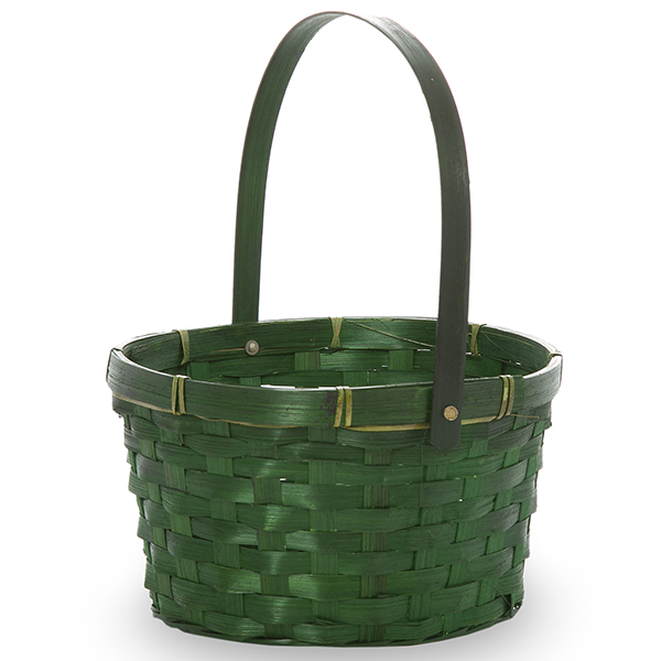 Green Swing Handle Oval Bamboo Basket 8in