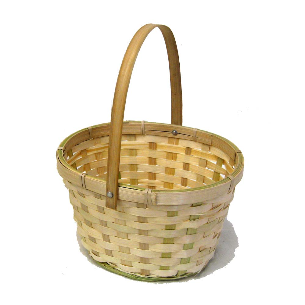Natural Swing Handle Oval Bamboo Basket 7in