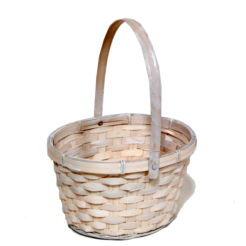 Washed White Swing Handle Oval Bamboo Basket 7in