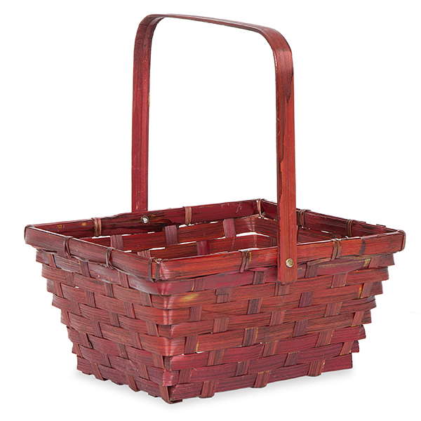 Dark Red Swing Handle Bamboo Basket 8in