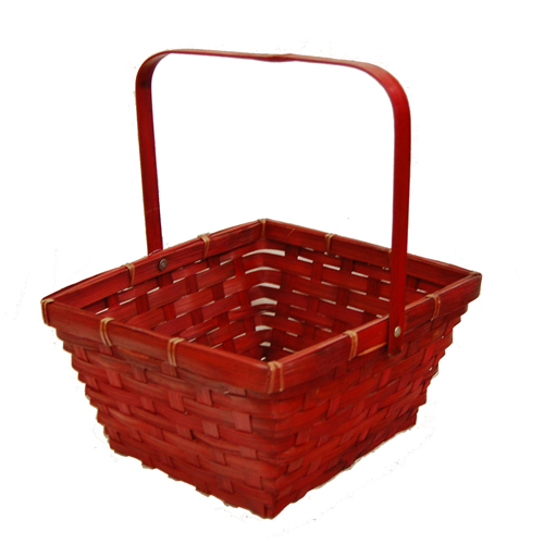 Red Swing Handle Bamboo Basket 8in