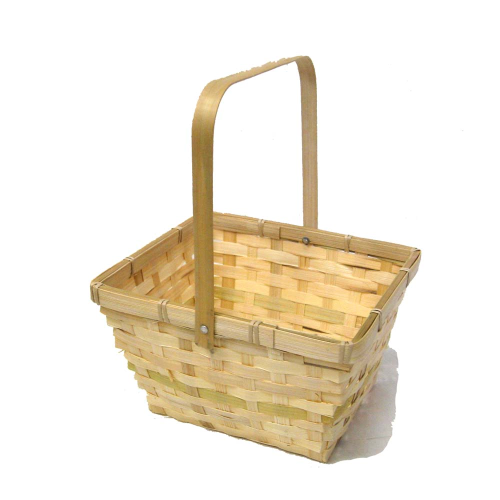 Natural Swing Handle Bamboo Basket - Square 8in