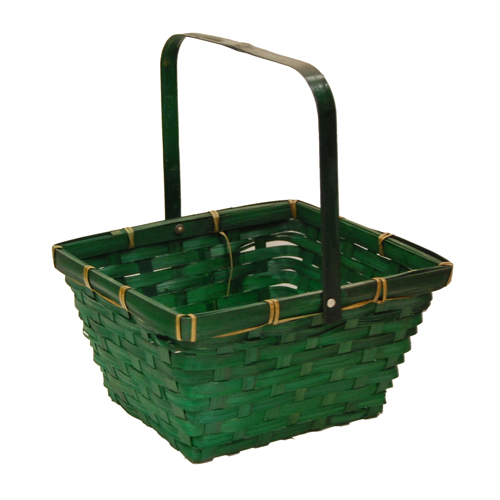 Green Swing Handle Bamboo Basket 8in