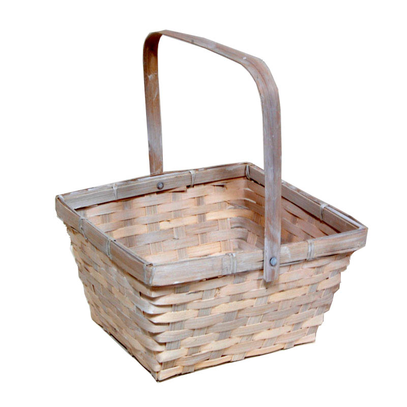Washed White Swing Handle Bamboo Basket 8in