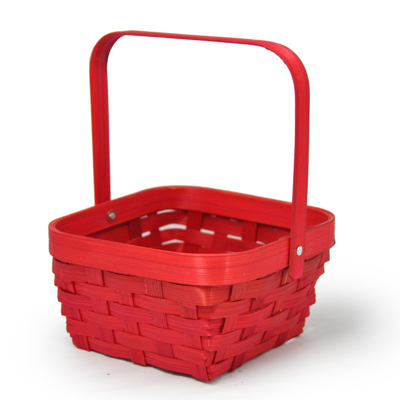 Small Swing Handle Bamboo Basket - Red 5in