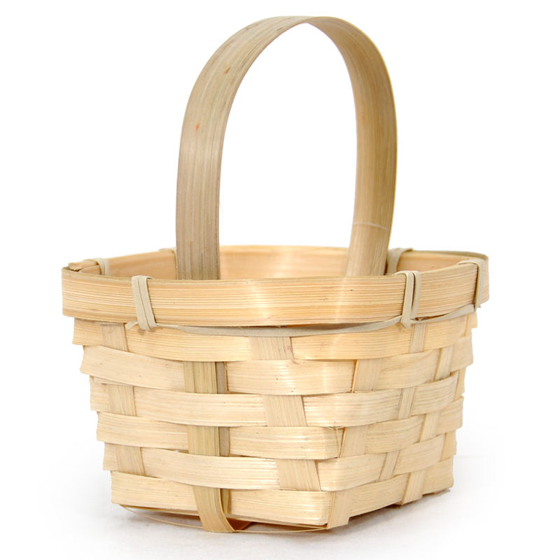 Miniature Bamboo Handle Basket - Oval 4in
