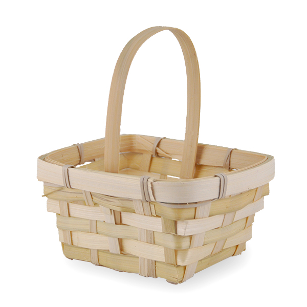 Miniature Rectangular with Round Top  Bamboo Handle Basket 5in