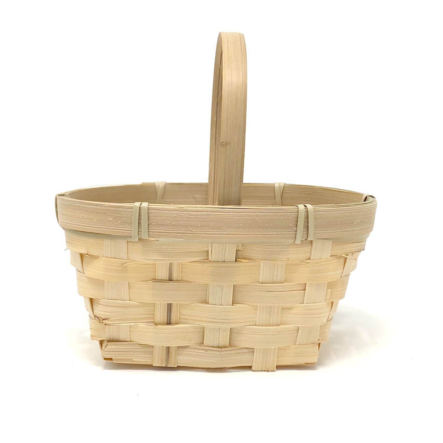 Mini Rect Bamboo Handle Basket with Oblong Rim 5in