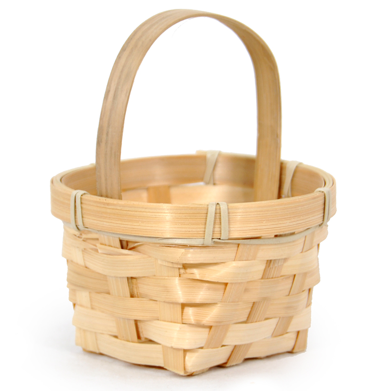 Miniature Bamboo Handle Basket - Round 4in