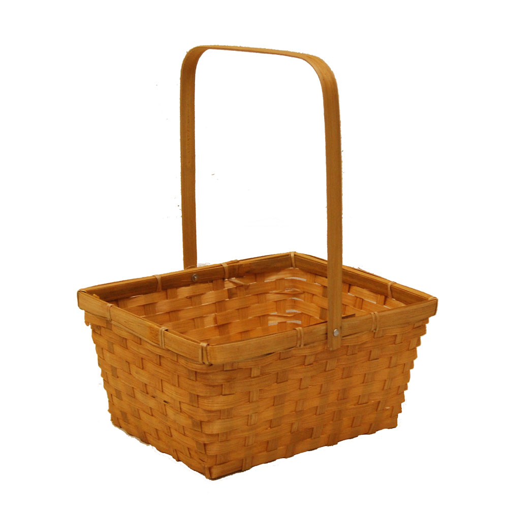 Honey Swing Handle Bamboo Basket - Large 10in