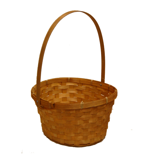 Honey Swing Handle Oval Bamboo Basket - Large 9in
