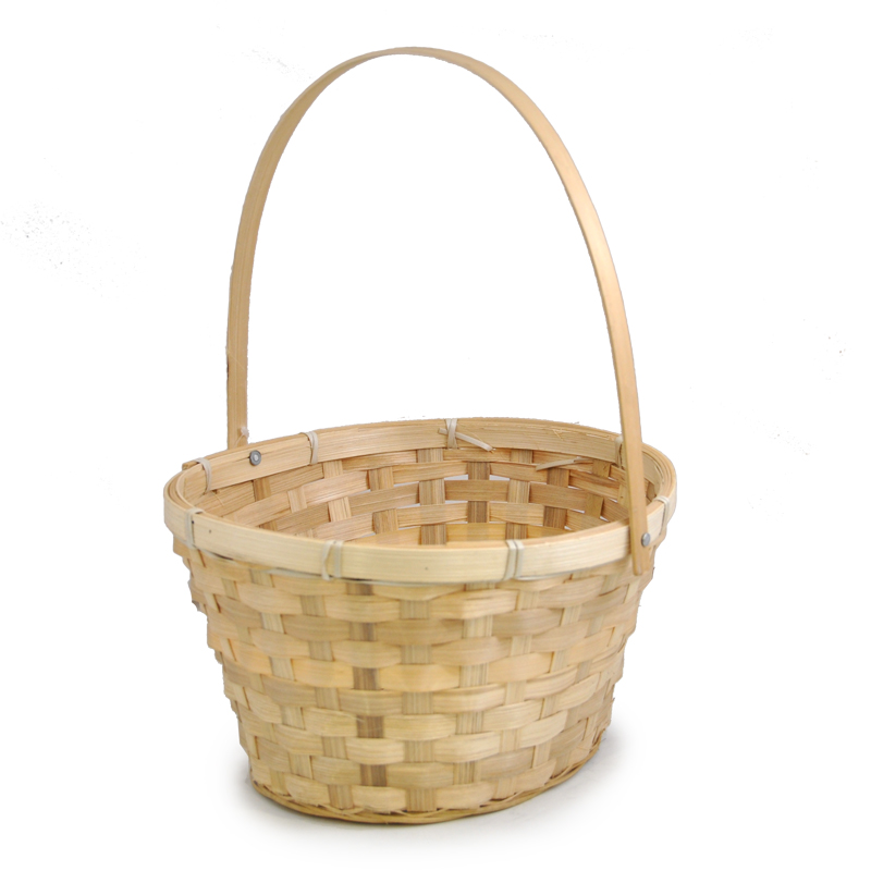 Natural Swing Handle Oval Bamboo Basket - Large 9in