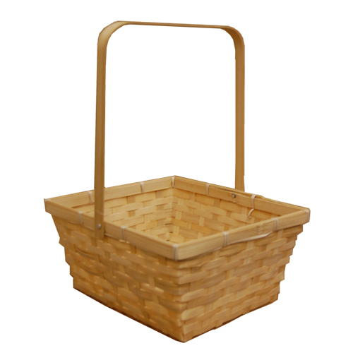 Natural Swing Handle Bamboo Basket - Large 10in