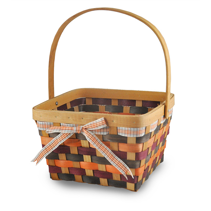Square Woodchip Swing Handle Basket - Autumn 9in