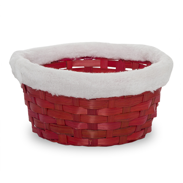 Red Round Bamboo Utility Basket with White Faux Fur Trim 7in