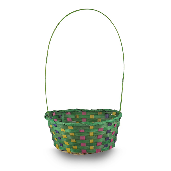 Spring Green with Purple Pink Yellow Oval Handle Basket - 9in