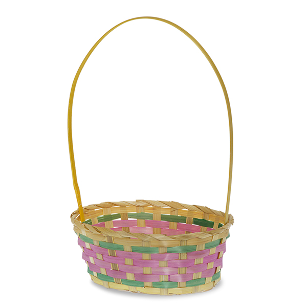 Oblong Bamboo Spring Basket with Tall Handle 9in