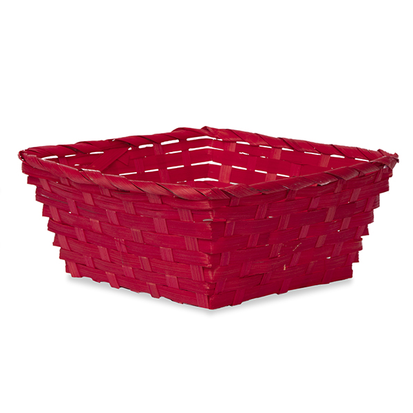 Square Bamboo Utility Basket Small - Red 8in