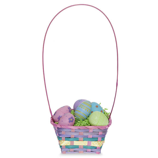 Rect Bamboo Spring Basket with Tall Handle 8in