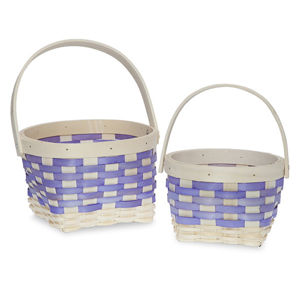 Round Rim Square Bottom Woodchip Handle Basket - Set of Two
