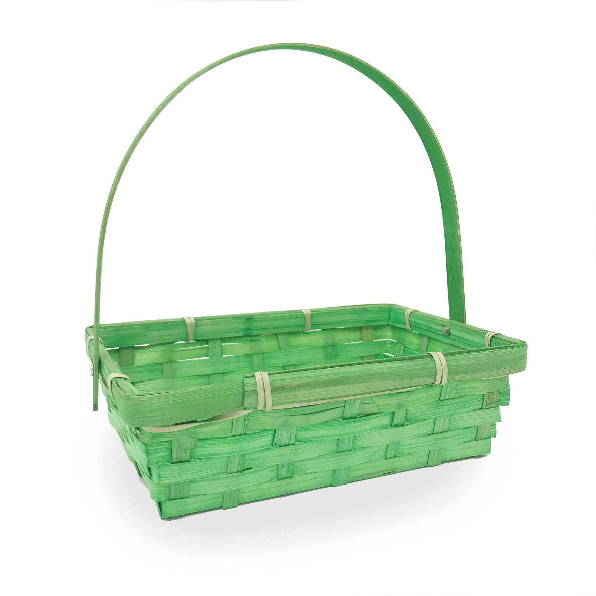 Small Rectangular Bamboo Swing Handle Basket - Green 8in