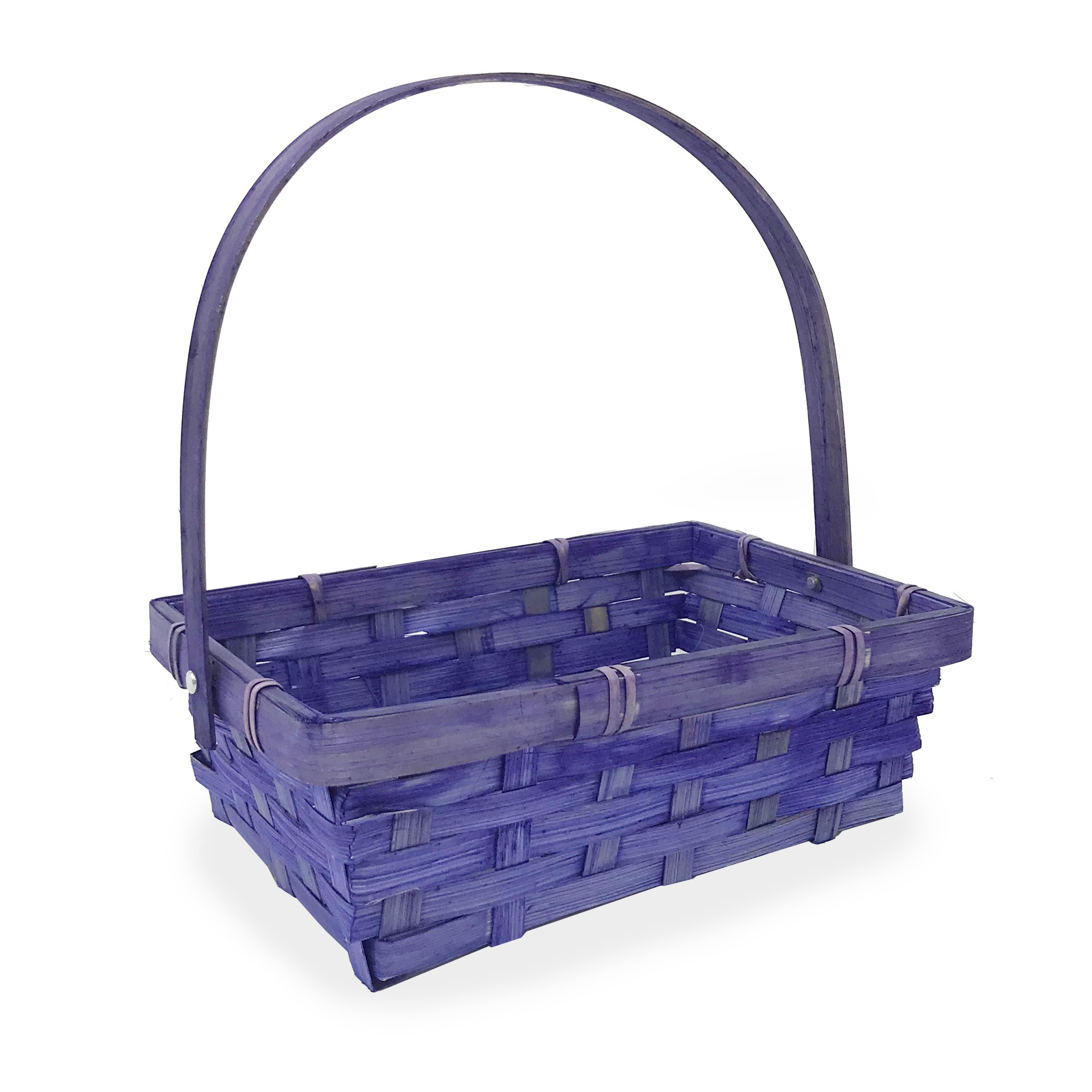 Small Rectangular Bamboo Swing Handle Basket - Purple 8in