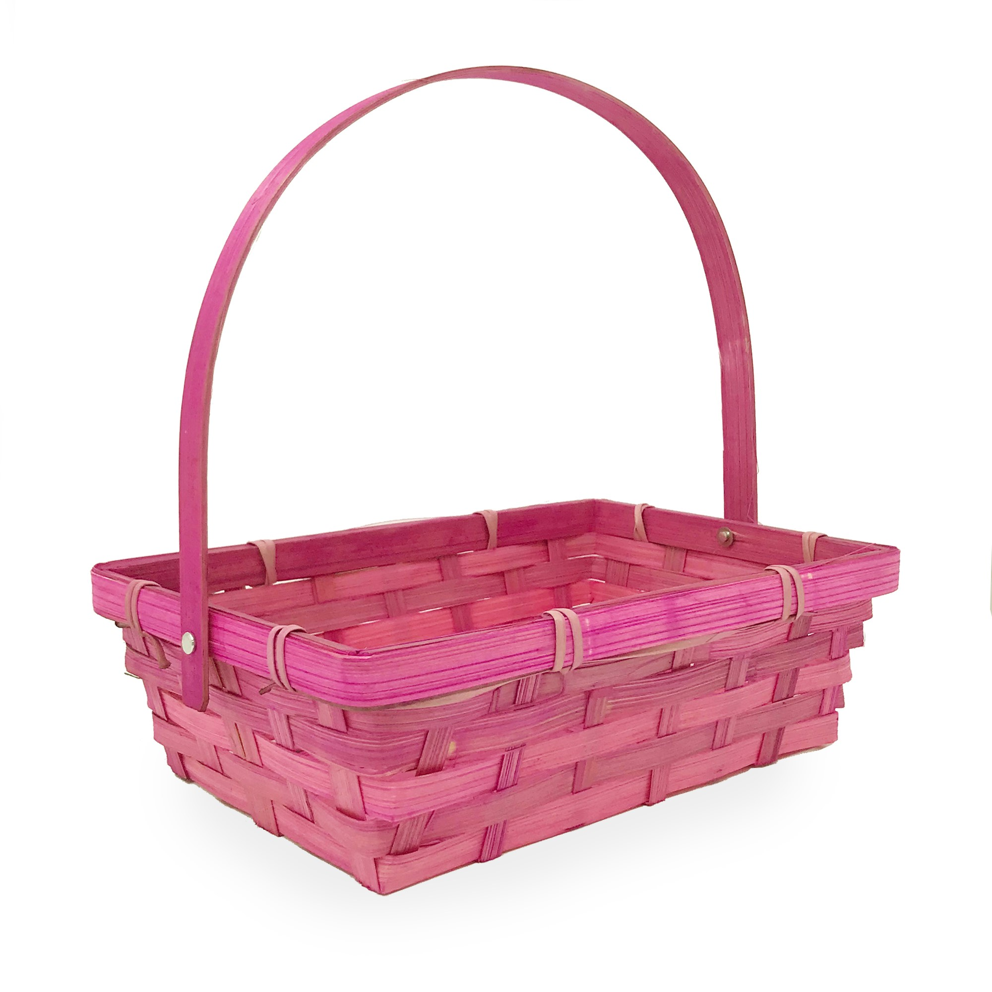 Small Rectangular Bamboo Swing Handle Basket - Pink 8in