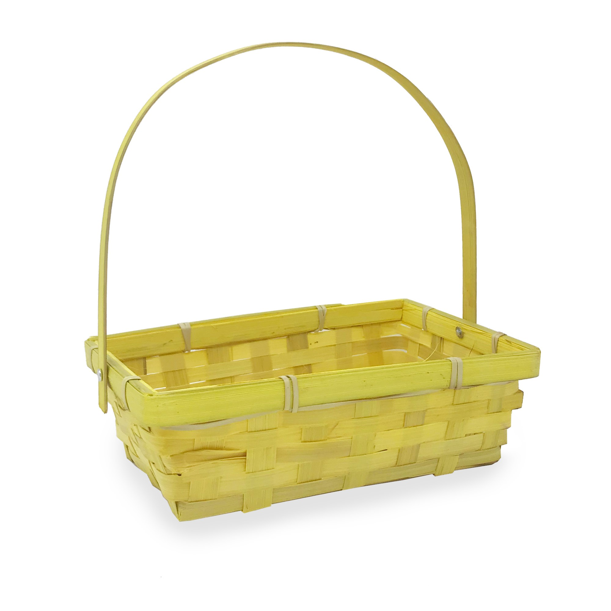 Small Rectangular Bamboo Swing Handle Basket - Yellow 8in