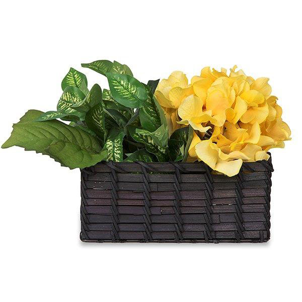 Rectangular Bamboo Basket - Black 7in