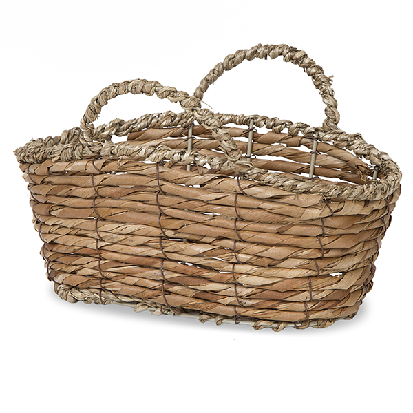 Oblong Bamboo Basket with Sea Grass Handle- 8in