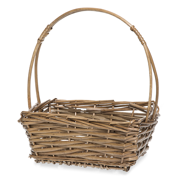 Willow Rectangular Handle Basket - Coffee 9in