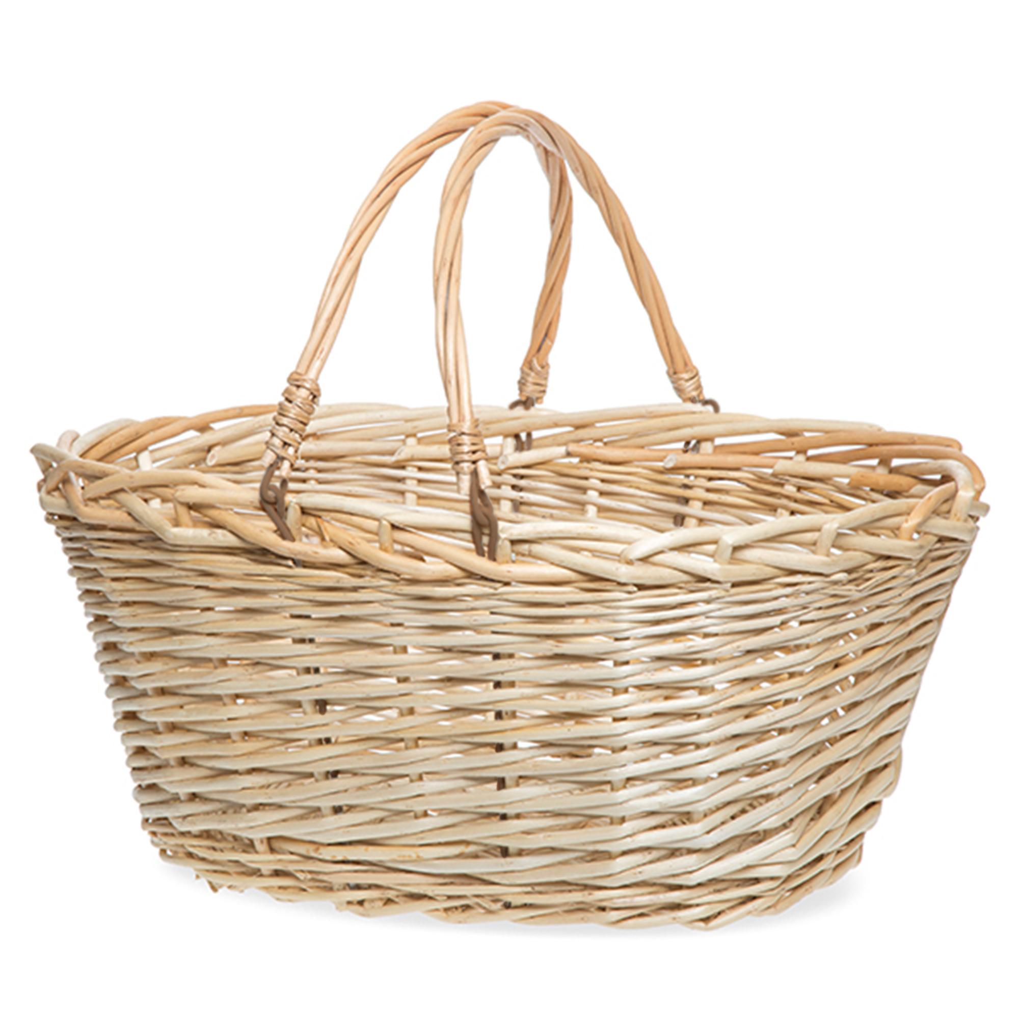 Vintage Willow Swing Handle Shopping Basket 17in
