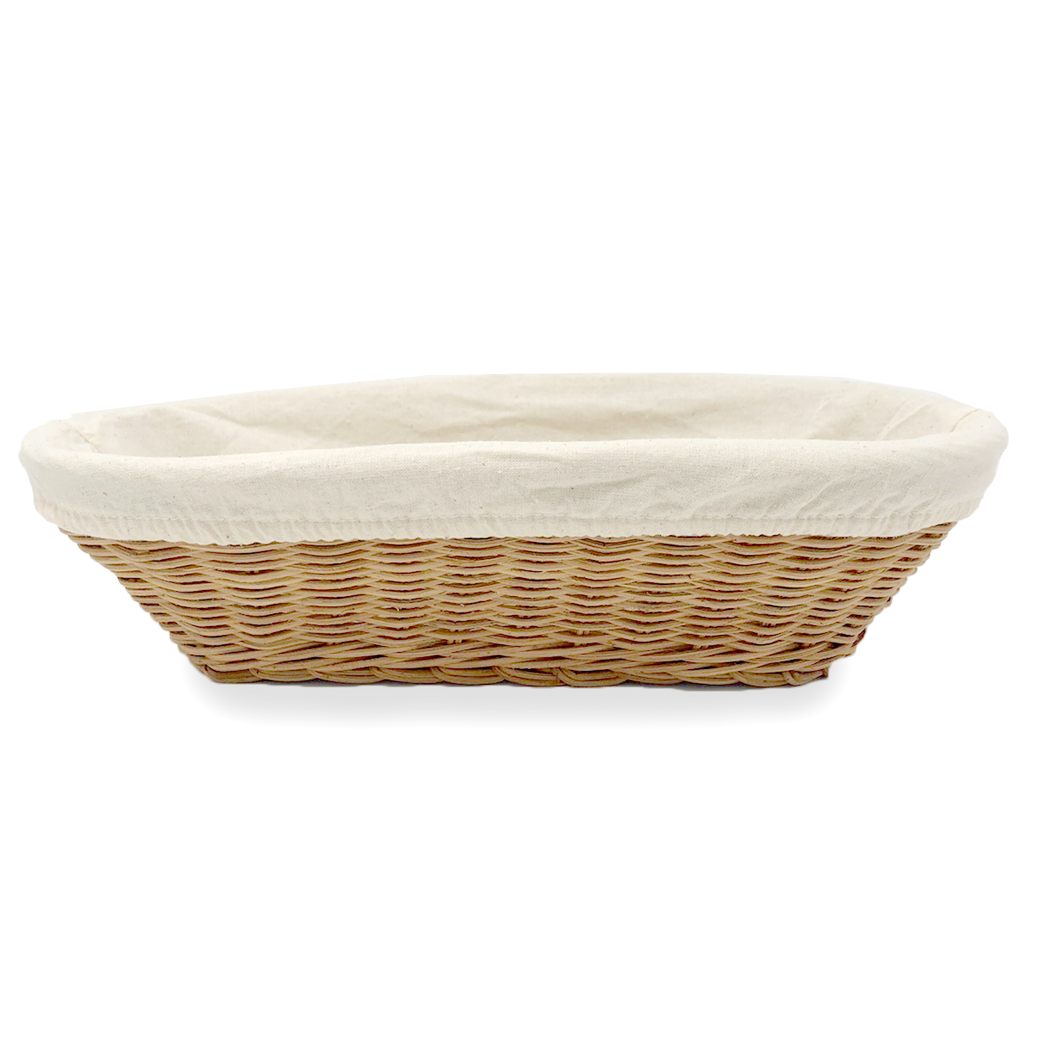 Slim Oval Rattan Utility Basket with Cloth Liner 12in