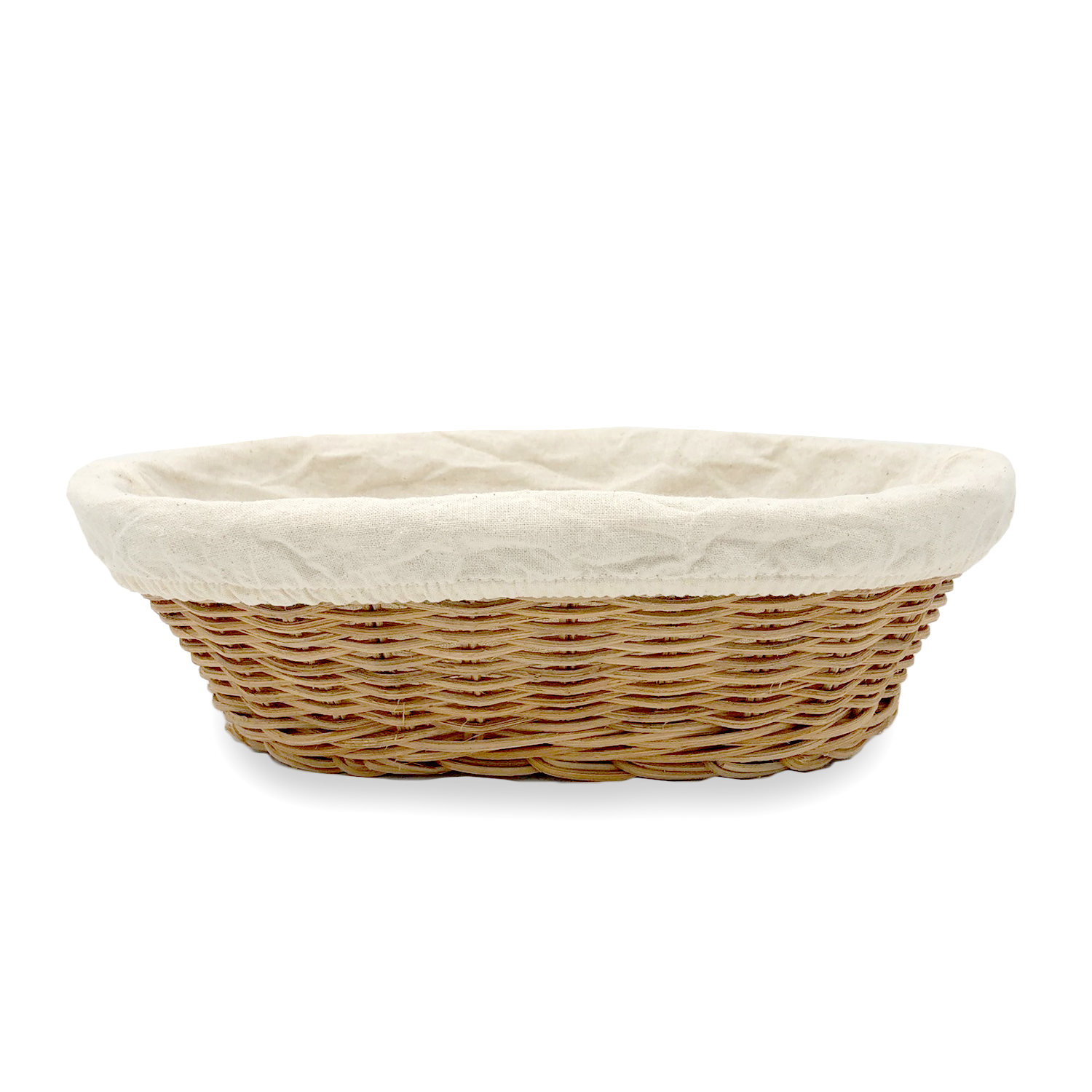 Oval Rattan Utility Basket with Cloth Liner - Natural 9in