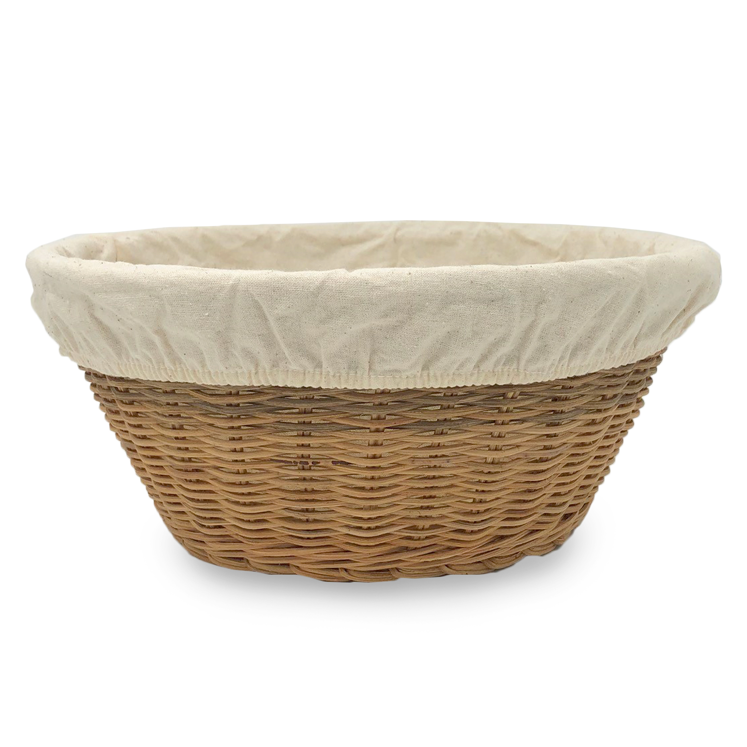 Large Round Rattan Utility Basket with Cloth Liner -Natural 10in