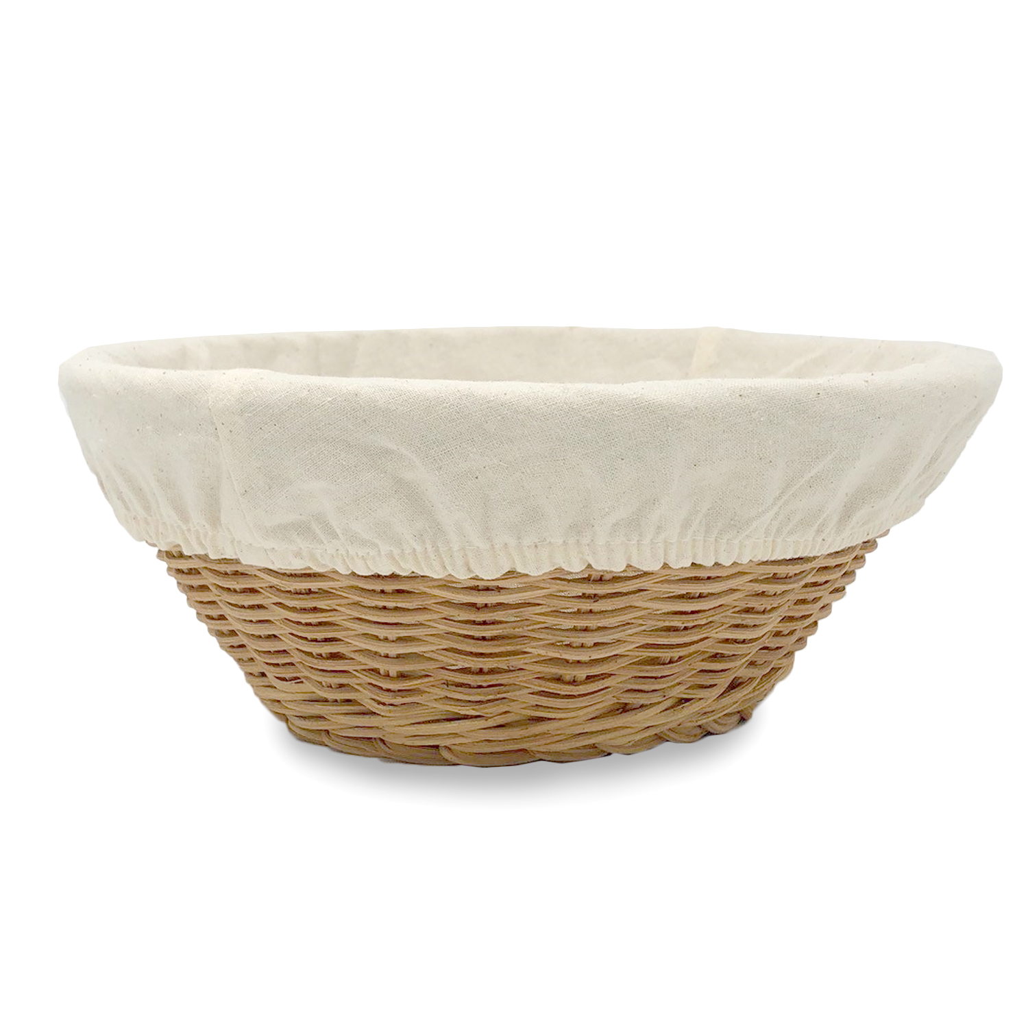 Medium Round Rattan Utility Basket with Cloth Liner -Natural 8in