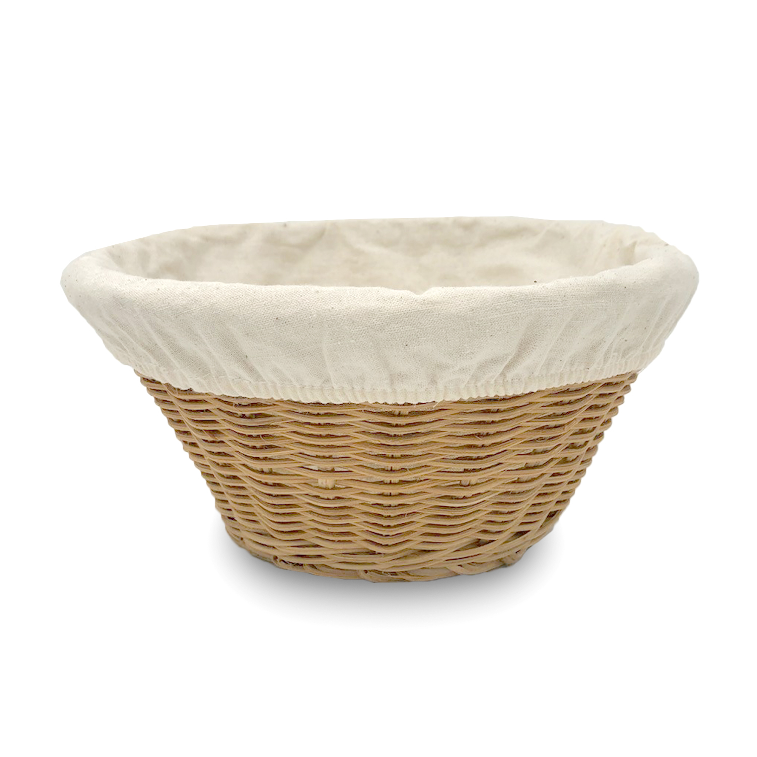 Small Round Rattan Utility Basket with Cloth Liner -Natural 7in