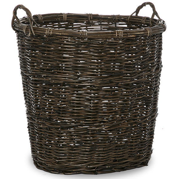 Rustic Oval Rattan Storage Basket with Side Handles 18in
