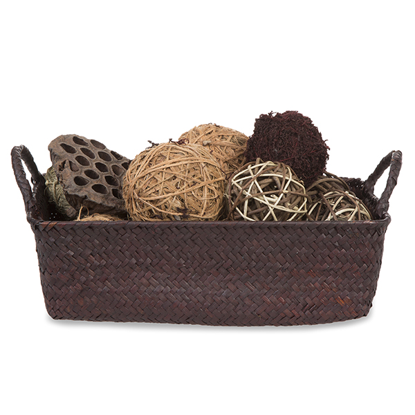 Alexa Sea Grass Rect Basket with Ear Handles - Mahogany 11in