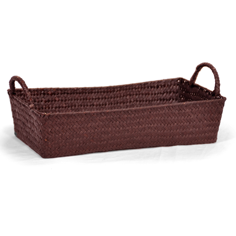 Alexa Slim Rectangular Tray Basket with Handles 15in- Mahogany