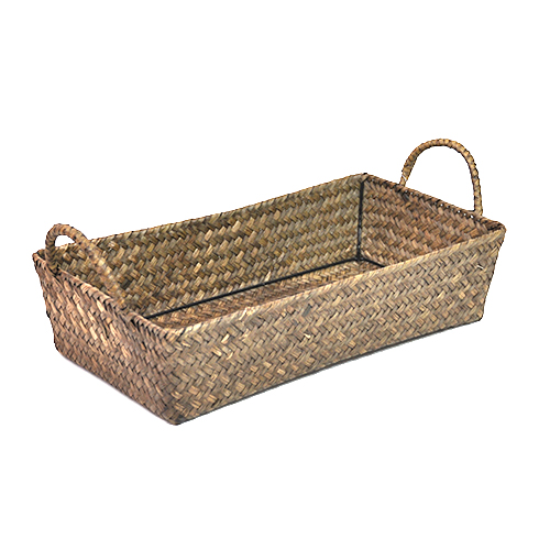 Alexa Slim Rectangular Tray Basket with Handles 15in- Natural