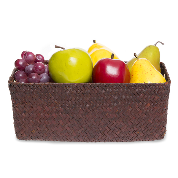 Alexa Slim Rectangular Utility Basket - Medium 10in- Mahogany