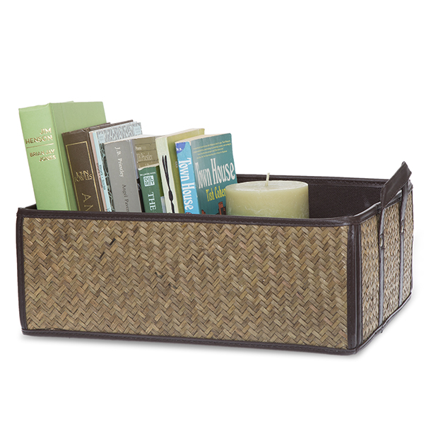 Alexa Sea Grass Faux Leather Collapsible Basket - Large 15in