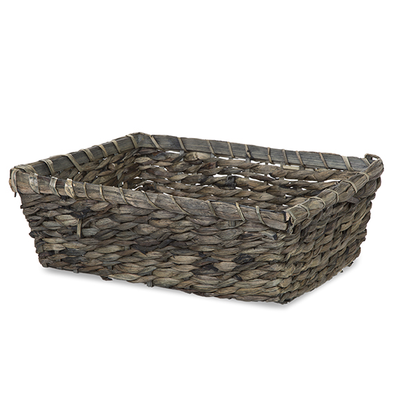 Large Rect Sea Grass Bamboo Utility Basket - Antique Grey 15in