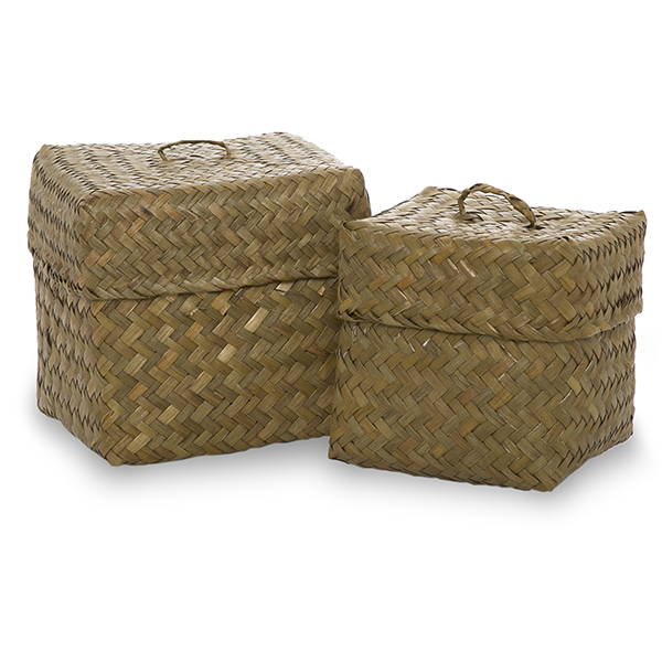 alexa small square basket with lid set of two coffee the lucky clover trading co. Black Bedroom Furniture Sets. Home Design Ideas