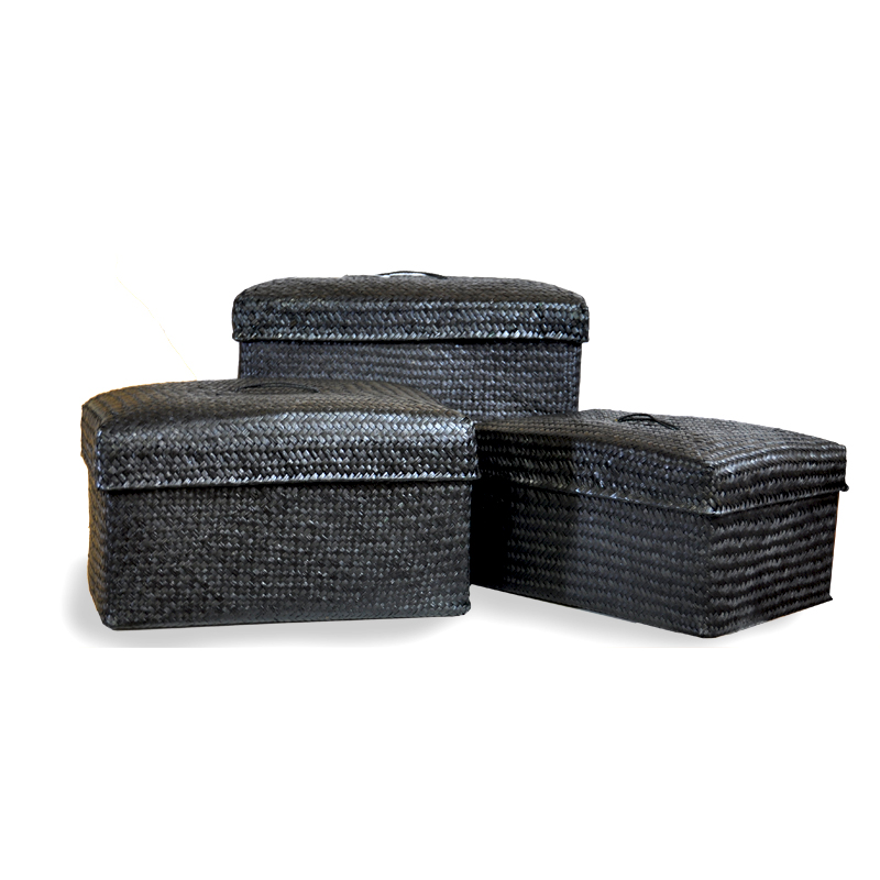 Alexa Small Nested Lid Baskets in Black Set of Three
