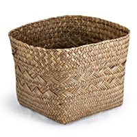 Alexa Large Square Bottom w/ Round Top Rim Planter - Coffee