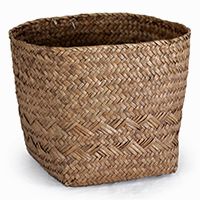 Alexa Med Square Bottom with Round Top Rim Planter - Coffee
