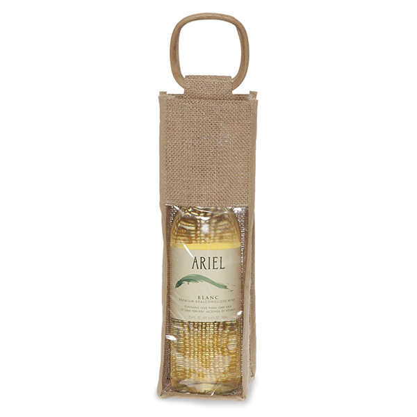 Jute Single Wine Handle Bag with Window 3in