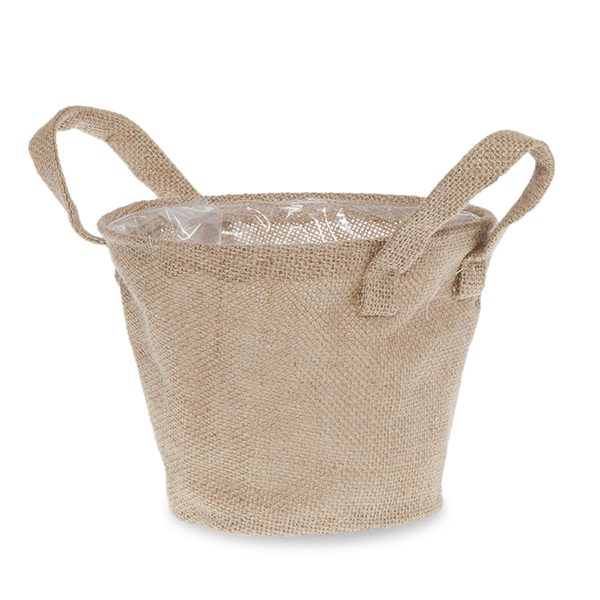 Natural Jute Round Handle Bag Wire Top Rim - Small 7in